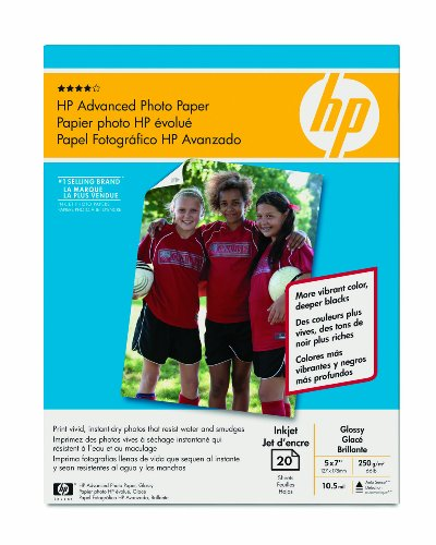 "HP 20-Count 5"" x 7"" Glossy Advanced Photo Paper White CG812A"