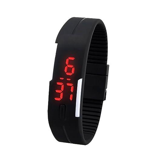 Reloj de pulsera - SODIAL(R)Reloj de pulsera brazalete Digital Tacto LED Silicona de hombre mujer Negro: Amazon.es: Relojes