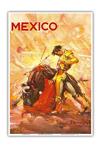 Pacifica Island Art Mexico - Bullfighting Matador - Vintage World Travel Poster by Carlos Ruano Llopisc.1944 - Master Art Print - 13in x - Poster Art Matador