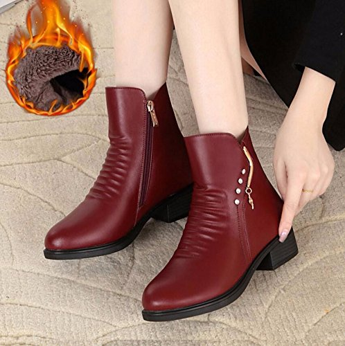 KHSKX-The Red Shoes 4Cm Mother Elderly Female Cotton Shoes Warm Winter Anti-Slip Plus Velvet Boots And Thick Autumn And Winter Women'S Shoes Of The Middle-Aged 39 RsV1DqA