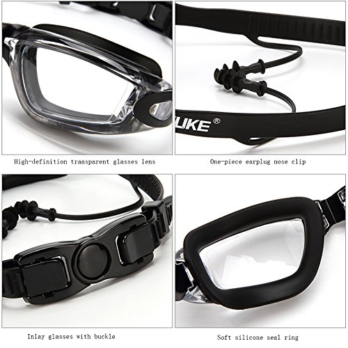 Professional Swimming Goggles Set - Adjustable Swimming Goggles +No Leaking Swimming Cap + Nose Clip + Ear Plugs+ Bag, Crystal Clear Comfortable Goggles Anti Fog UV Protection for Men Women Youth Kid by YWLSTM (Image #4)