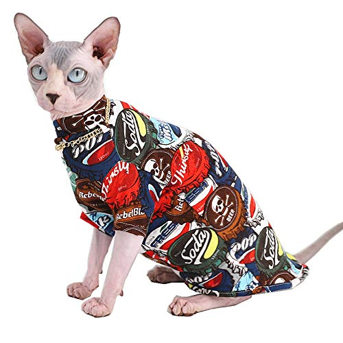 Sphynx Hairless Cat Fashion & Cool Breathable Summer Cotton Shirts Pet Clothes with Gold Necklace Collar, Yellow Kitten…