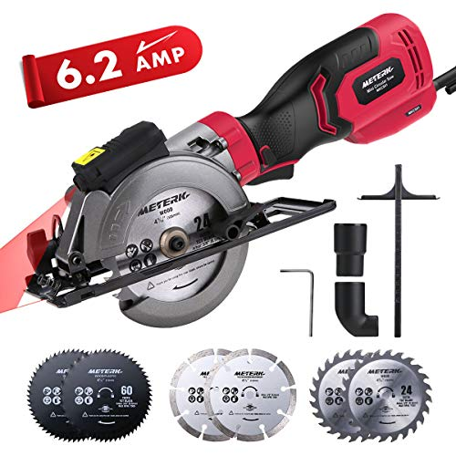 "Circular Saw, Meterk 6.2A Compact Electric Circular Saw with Laser Guide, 6 Blades, Max Cutting Depth 1-9/10""(90°), 1-1/4""(0°-45°), Ideal for Wood, Soft Metal, Tile, and Plastic Cuts"