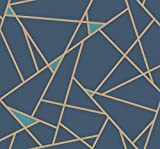 York Wallcoverings RY2704 Risky Business 2 Prismatic Removable Wallpaper, Navy Blue/Metallic Gold