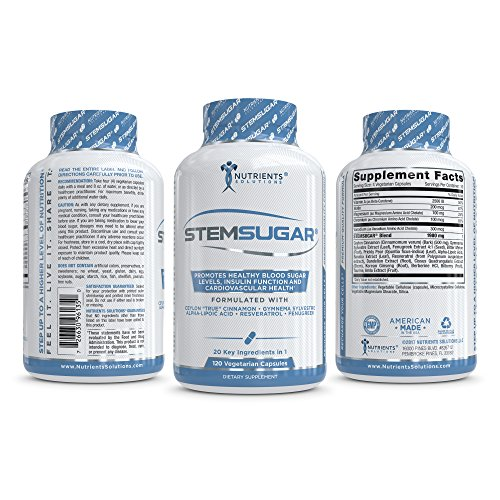 STEMSUGAR - Ultra-Premium Blood Sugar Support Supplement with Ceylon Cinnamon - Naturally Promotes Healthy Heart, Glucose Levels, Insulin Function and Weight Loss - 20 Key Nutrients - 120 Veg Caps by Nutrients Solutions (Image #3)