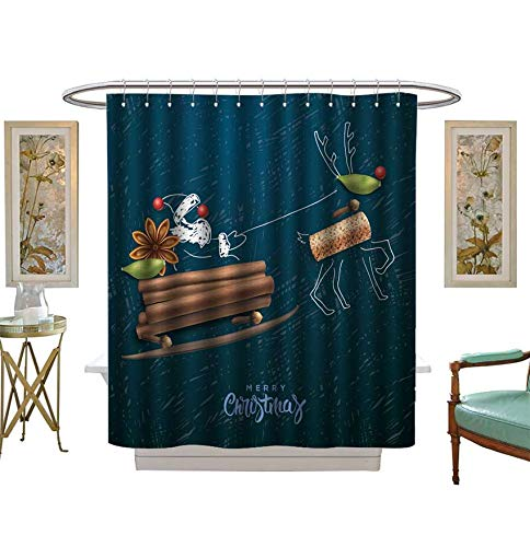 Miki Da Shower Curtains Waterproof Santa Claus Flying in a Sleigh,Merry Christmas Card,Vector Fabric Bathroom Decor Set with Hooks Size:W36 x L72 inch