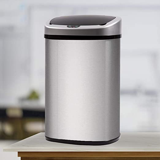 FDW Kitchen Trash Can for Bathroom Bedroom Home Office Automatic Touch Free  Garbage Bin with Lid Brushed 13 Gallon/50L Stainless Steel