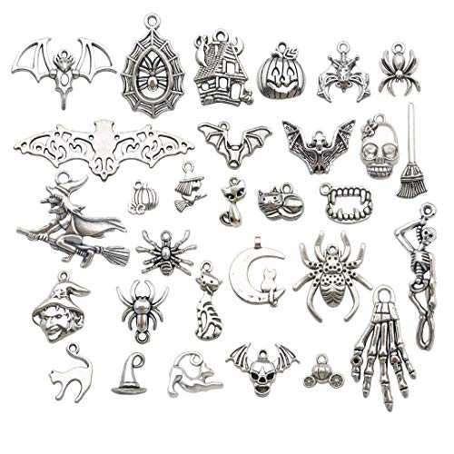 Youdiyla 58 PCS Halloween Charms Collection, Silver Halloween Pumpkin Bat Spider Web Witch Hat Skull Hand Cat Bat All Saint's Day Metal Pendant Supplies Findings for Jewelry Making (HM139) ()