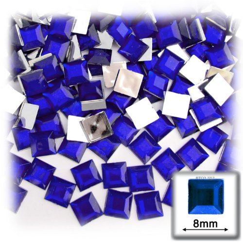 The Crafts Outlet 144-Piece Flat Back Square Rhinestones, 8mm, Royal - 144 Rhinestones Square Piece