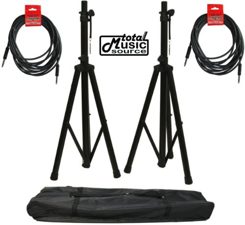 SAL ADJ. HEIGHT TRIPOD STANDS & NYLON CARRY BAG & CABLES, SPRS2BPACK (Steel 18' Speaker Stands)