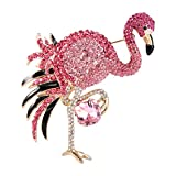 EVER FAITH Women's Austrian Crystal Graceful Enamel Flamingo Bird Brooch Pink Gold-Tone