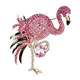 EVER FAITH Women's Austrian Crystal Graceful Enamel Flamingo Bird Brooch Pink Gold-Tone