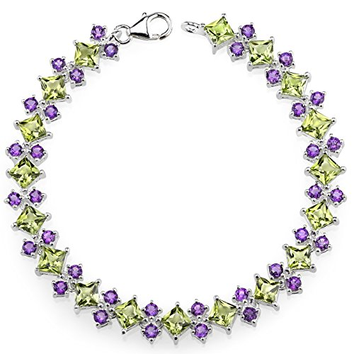 16 Carats Peridot Amethyst Combination Bracelet Sterling Silver Rhodium Nickel Finish by Peora