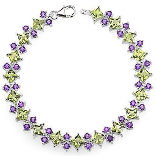 16 Carats Peridot Amethyst Combination Bracelet Sterling Silver Rhodium Nickel Finish by Peora