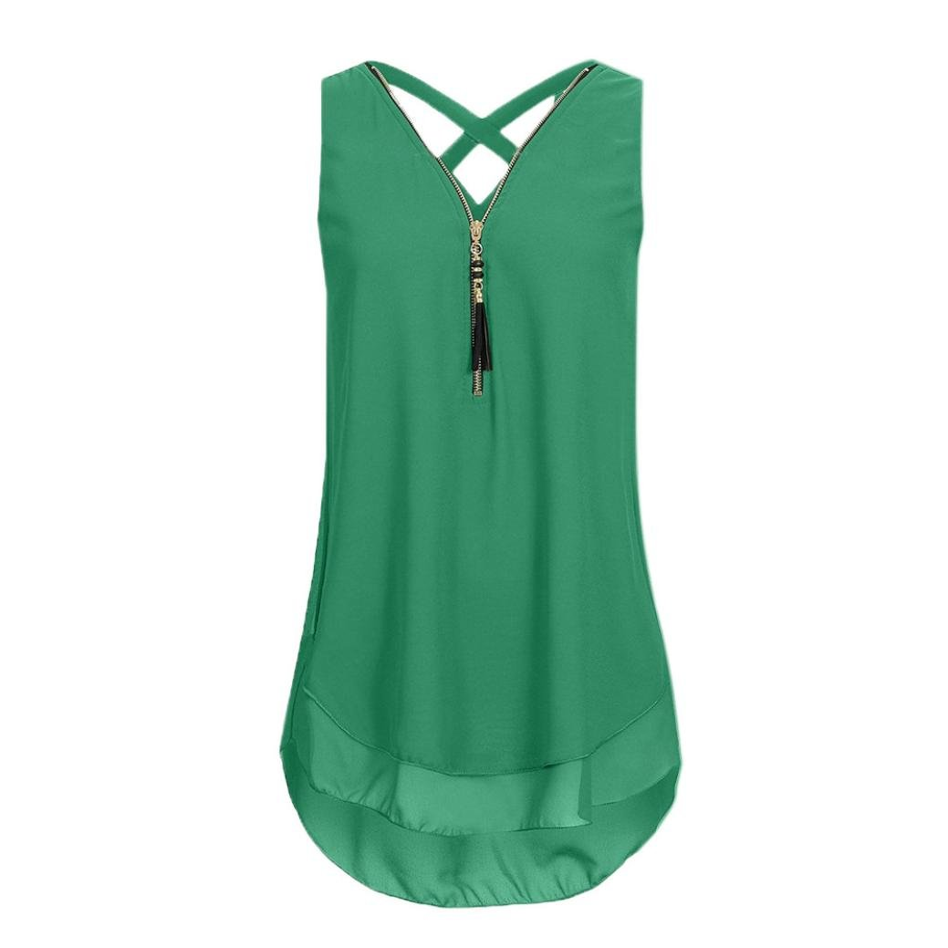 CUCUHAM Women Loose Sleeveless Tank Top Cross Back Hem Layed Zipper V-Neck T Shirts Tops(A-Army Green, XXXXL)