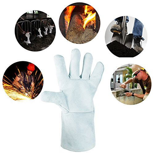 Colyn Heat & Fire Resistant Welding & BBQ Gloves, Premium Cowhide Leather Mitts For ARC TIG MIG Welders BBQ Oven Grilling Gardening Fireplace Stove Pot Holder, 14 in & 18 in, Gray (18 Inch (length)) by Colyn (Image #4)