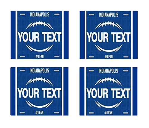 BRGiftShop Personalize Your Own Football Team Indianapolis Set of 4 Square Beverage Coasters - Desk Team Colts Indianapolis