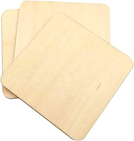 Photo Props and Decorations Unfinished Wood Squares Pieces Artibetter 160PCS Wood Coasters Pyrography Writing Wooden Squares Cutout Tiles Painting