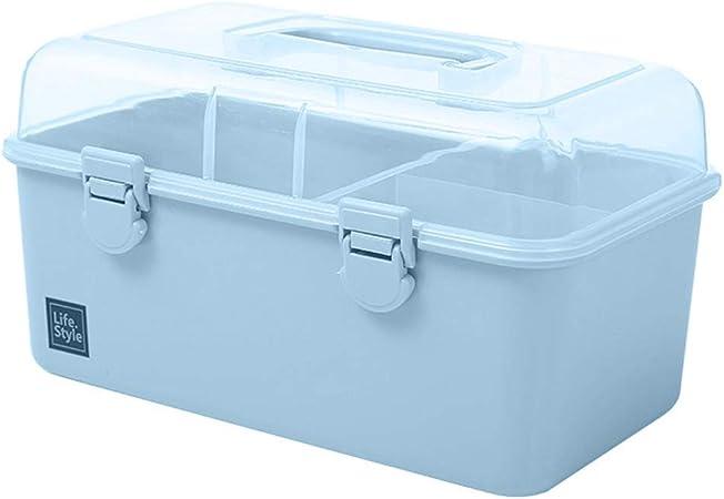 Jiyaru Botiquín Primeros Auxilios con Tapa, Botiquín de Primeros Auxilios, Caja Estuche Médico con Asa Portátil para Familiar, Caja de Almacenamiento Multiusos Anti-Polvo Azul M: Amazon.es: Hogar