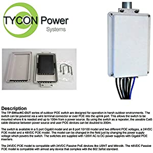 Tycon Systems Inc TP-SW5GNC-OUT48 Outdoor 5 Port Gigabit 48vdc Poe Switch