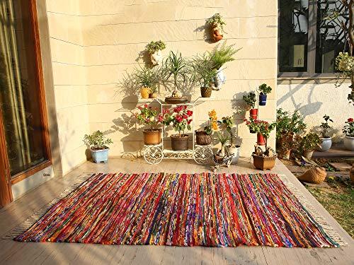 Colorful Boho Area Rug - 5x8 Feet Indian Handmade Decorative Chindi Floor Rag Rugs Ethnic Rajasthani Home Decor - Multicolor (Area Rag Rug)