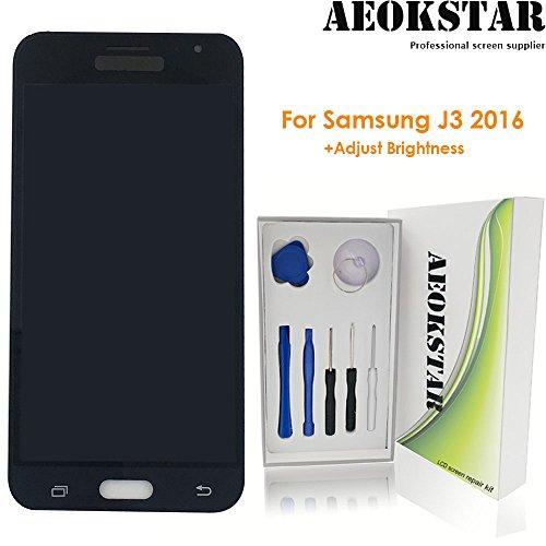 Aeokstar For Samsung Galaxy J3 (2016) J320P J320YZ J320VPP j320ZN J320F J320A LCD Touch Screen Digitizer Glass Assembly Replacement & Full Repair Tools Kit (BLACK+ADJUST BRIGHTNESS) from AEOKSTAR