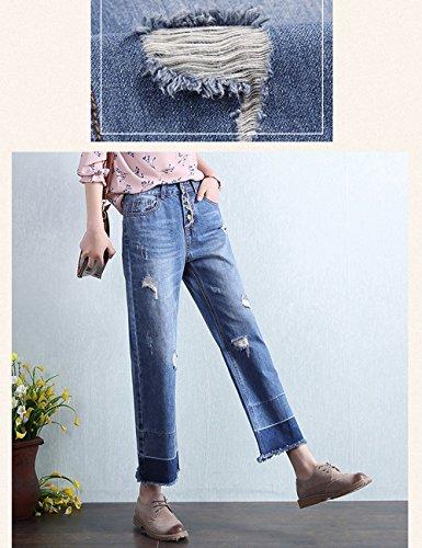 LADIES Mode Single-breasted neun Hosen Burrow breite Bein Jeans Frau ( größe : 30 )