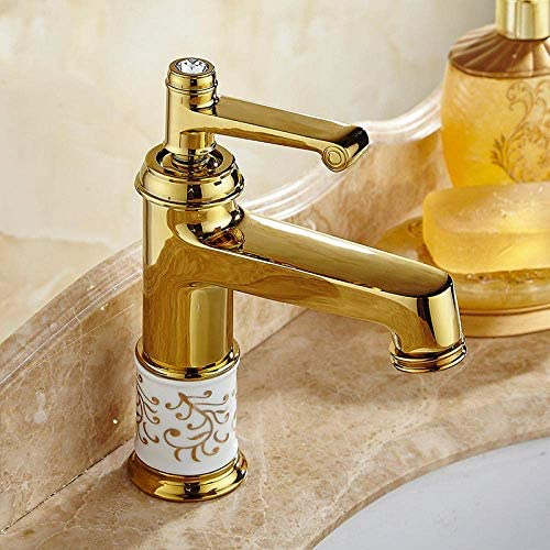 ZY-YY バスルームのシンクは、スロット付き浴室の洗面台のシンクホットコールドタップミキサー流域の真鍮シンクミキサータップ洗面ゴールデン単穴ホットとコールド蛇口流域銅蛇口節水混合弁をタップ