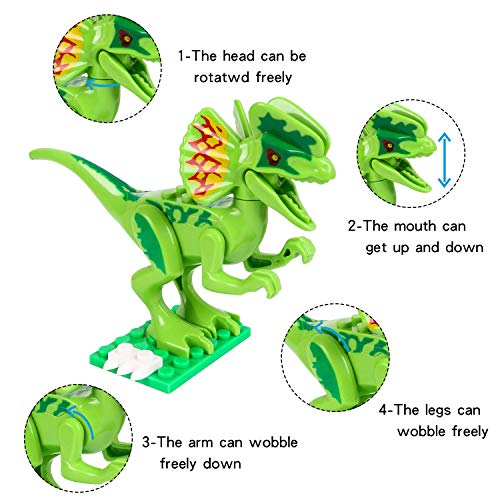 Action Figures Dinosaur Building Blocks 12pcs Movable Head Mouth And Hands Dinosaur Play Figure