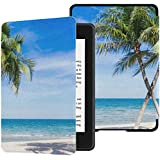 QIYI Case Fits Kindle Paperwhite 10th Generation 2018 Released Holiday Beach Scene E-Reader Covers PU Leather Waterproof Smar