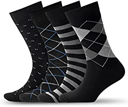 Mens Patterned Dress Socks – Pack of 4 Socks – Four Beautiful Designs Classic Black Color