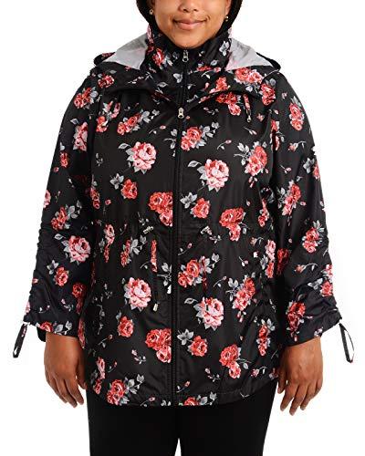 Details Women's Plus Size Packable Anorak Jacket, Black/Chianti Rose, 3X