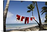 Great BIG Canvas Gallery-Wrapped Canvas entitled Santa Claus costume hanging on clothesline on tropical beach