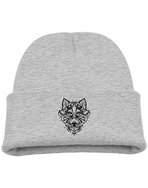 Big Wolf Head Kid's Hats Winter Funny Soft Knit Beanie Cap, Unisex