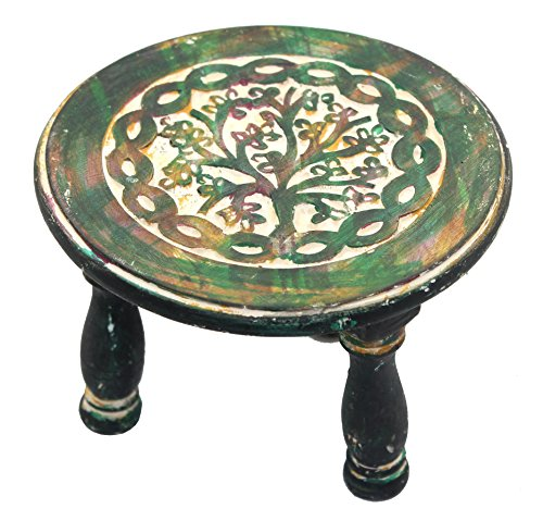 Tibetan Hand Painted Wood Box (Govinda - Round Tree of Life Altar Table 6 Inch Diameter)