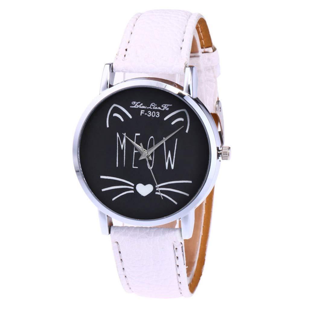 NXDA Women's fashion wrist watch casual PU leather strap analog quartz round cartoon cute cat face map chassis watch (White)