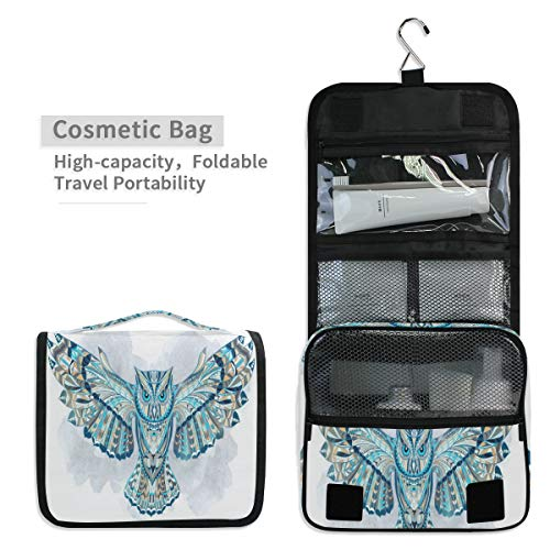 Toiletry Organizer Wash Bag,Ethnic Owl Wallpapers Portable travel bathroom shower bag Deluxe Large Capacity Waterproof Pouch Kit with Hook for Men and Woman