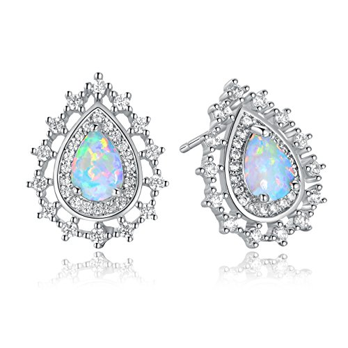 - GEMSME White Gold Plated Water Drop Shaped Stud Earrings For Women (created-opal)