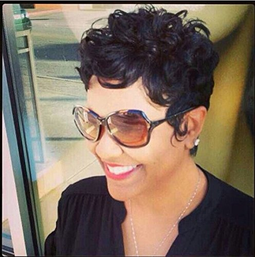 RUISENNA Short Curly Wigs Pixie Cut Wigs For Black Women 100% Heat Resistant Fiber Synthetic African American Wig