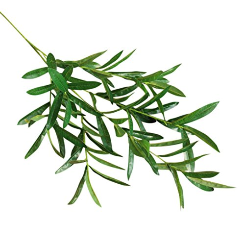 Clearance!Artificial Plant Fake Olive Leaves Lifelike Foliage Grass Bush Indoor Outdoor Wedding Party Home Garden Decor (Green 2Pcs)