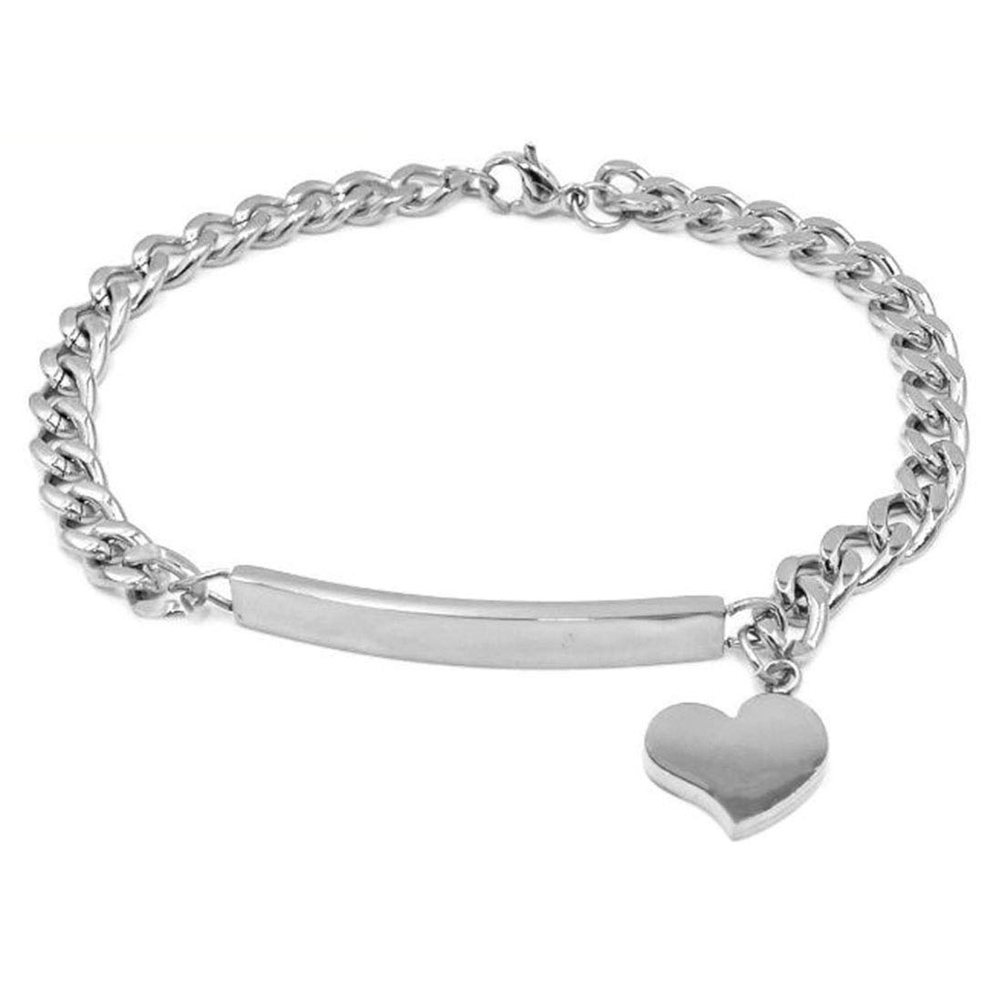 FOXI YOUTH Girls Shining Stainless Steel Curb Chain Identification Tag Heart Charm Link Bracelet