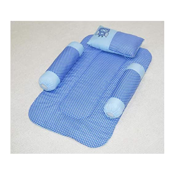 Oscar Home New Born Baby Bedding Set with Mattresses, Neck Pillow & Two Baby Side Bolster Set of 4 Blue