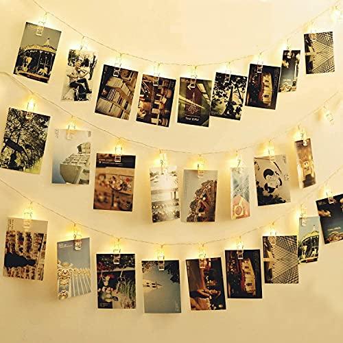 YOOYEE Foto Clip Cadena de Luces LED 40 Fotoclips 5 Metros Navidad Luces de Hadas con Pilas Blanco Cálido Guirnaldas Luminosas de Interior Imágenes de Clip Luces para Colgante Fotos Notas