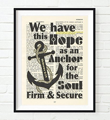 Vintage-Bible-page-verse-scripture-We-have-this-hope-as-an-Anchor-Hebrews-619-Christian-ART-PRINT-UNFRAMED-nautical-dictionary-wall-home-decor-posterInspirational-gift