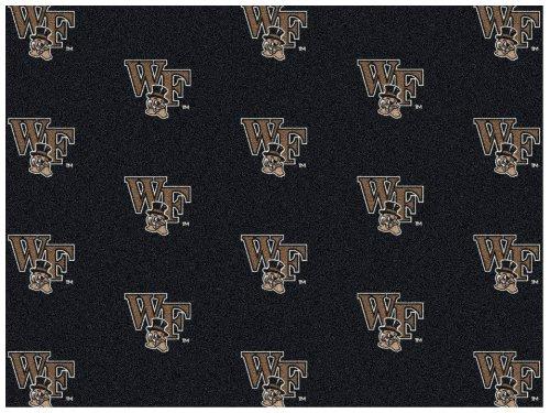 - 6'x9' WAKE FOREST - Milliken NCAA College Sports Team Repeat Logo 100% Nylon Pile Fiber Broadloom Custom Area Rug Carpet with Premium Bound Edges