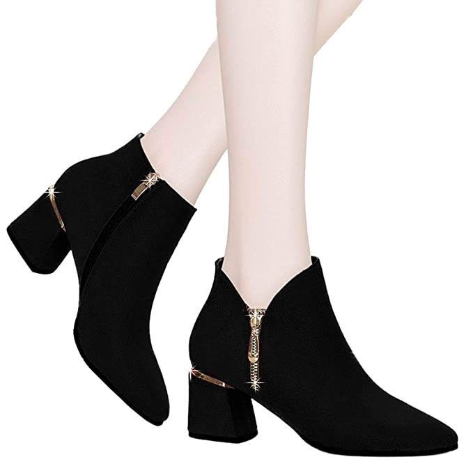 d5ca0cb1392 Amazon.com: Women's Chunky Heel Ankle Booties,British Thick with ...
