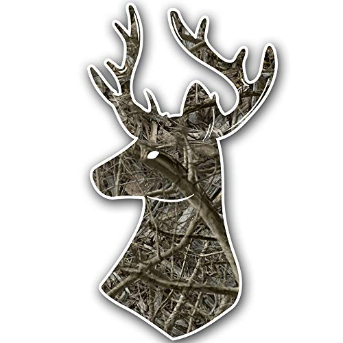 Camo Deer head sticker with antlers - decal for car truck cooler window glass toolbox laptop die cut