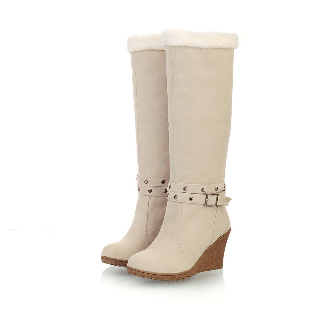 Mostrin Sweet Style Women's Buckle Wedge Heel Fur Boots Winter Warm Suede Fold-Over Snow Boots