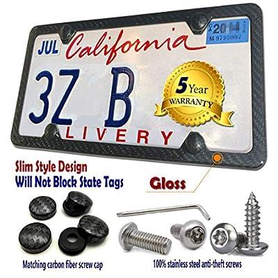 Carbon Fiber License Plate Frame- Handcrafted of 100% Real Carbon Fiber Cloth Wrap Aluminum Plate Frames | Anti Theft License Plate Screws | CF Screw Caps | Slim Gloss Black 4 Holes | Qty 1 Frame: Automotive
