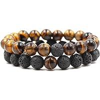 REBUY® Natural Lava Stone and Tiger Eye 8mm Beaded Handmade Healing Energy Wrist Bracelet for Men and Women